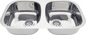 Cuba Dupla para Cozinha em aço Inox AISI 304 Reatangular 2C 34 BL COD:94030/102 Dimensões Produto (Compr. X Larg. X Alt.): 768x446x152 mm