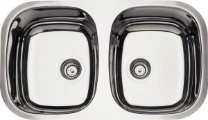 Cuba Dupla para Cozinha em aço Inox AISI 304 Retangular 2C 34 BL COD:94030/202 Dimensões Produto (Compr. X Larg. X Alt.): 768x446x152 mm