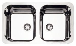 Cuba para Cozinha Retangular Plus 2C  34 BL Cod.94033/102 Dimensões Produto (Compr. X Larg. X Alt.): 775x450x170 mm.